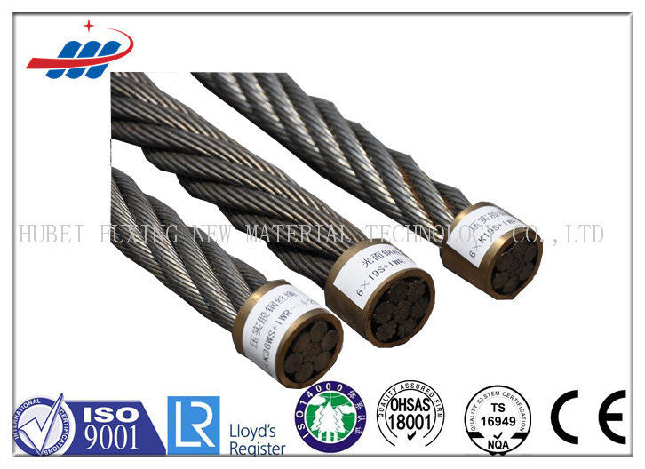 CE Ungalvanized Steel Wire Rope 1570-1960MPA , Compacted Strand Wire Rope 6xK19S+FC